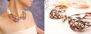 Rose - wire collar by UrsulaJewelry