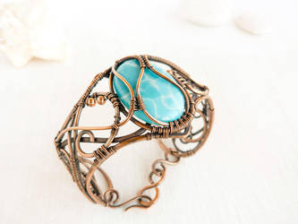 Sea for Manatees - wire copper bracelet by UrsulaJewelry