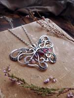 Garnet silver Butterfly by UrsulaJewelry