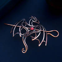 Dragon - copper hairpin by UrsulaJewelry
