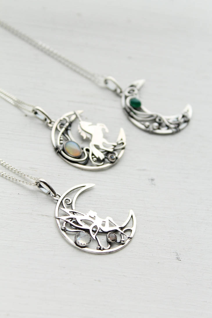 Silver moon necklaces by UrsulaJewelry