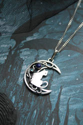 Silver moon necklace with cat by UrsulaJewelry