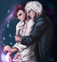 Hug me -- Commission by TheLucifersArt