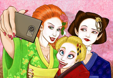 Ivy, Harley and Selina in Japan - Coloured by lythis57