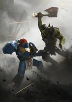 Ultramarine vs Ork by korpehn