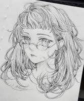 Fuzzy hair girl by bizzybiin