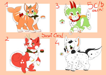 Sushi cats adoptables ( open ) by Creepymarty2
