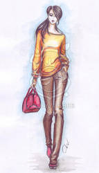 Fashion sketch: casual look by Ollustrator