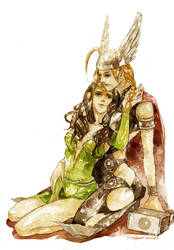 lady Thor and lady Loki by fish-ghost