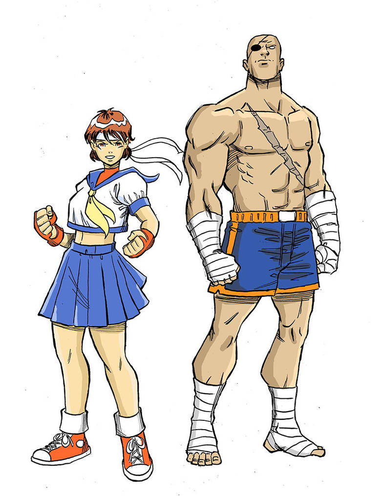 SF Sakura and Sagat studie af web cor by MarcusRosado