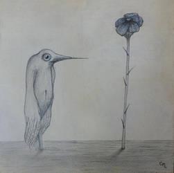 bird sees flower by chris10belgium