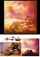 My big bear before and after - photomanipulation by Quijuka