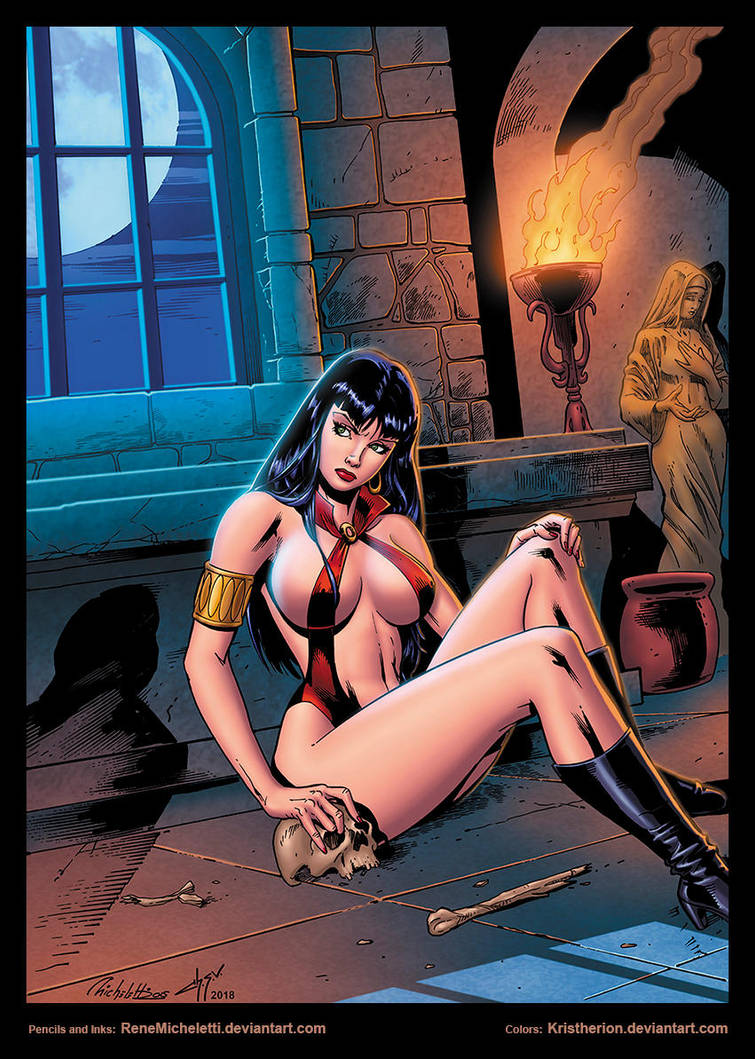 Vampirella in cripta by Rene Micheletti by Kristherion