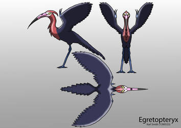 Egretopteryx model sheet by Karlamon