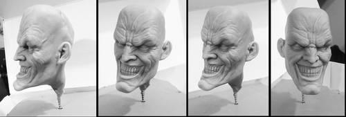 Joker head sculpt WIP by sanyaca