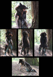 The HUGE black wolf totem headdress--finished! by lupagreenwolf