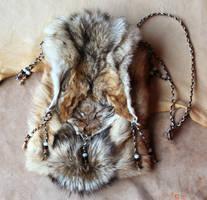 Black backed jackal hide shoulder bag by lupagreenwolf
