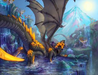 Starfall Dragon Desktop by Dreamkeepers