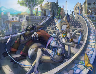 Makoto and Sapphire City Stair by Dreamkeepers
