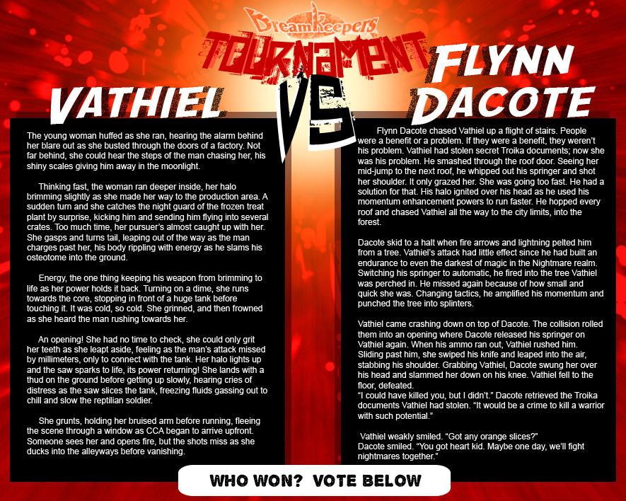 Tournament Match 9:  Vathiel vs Flynn by Dreamkeepers