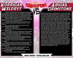 Tournament Match 37: Korrigan vs Abigail by Dreamkeepers