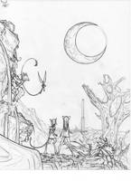 Starfall Hike Lineart- Patreon Artifact by Dreamkeepers