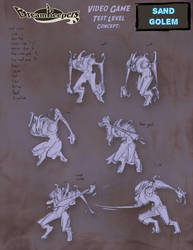 DK Video Game- Sand Golem sketches by Dreamkeepers