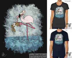 Flamingo Eats Bunny T-Shirt by KilowattKatie