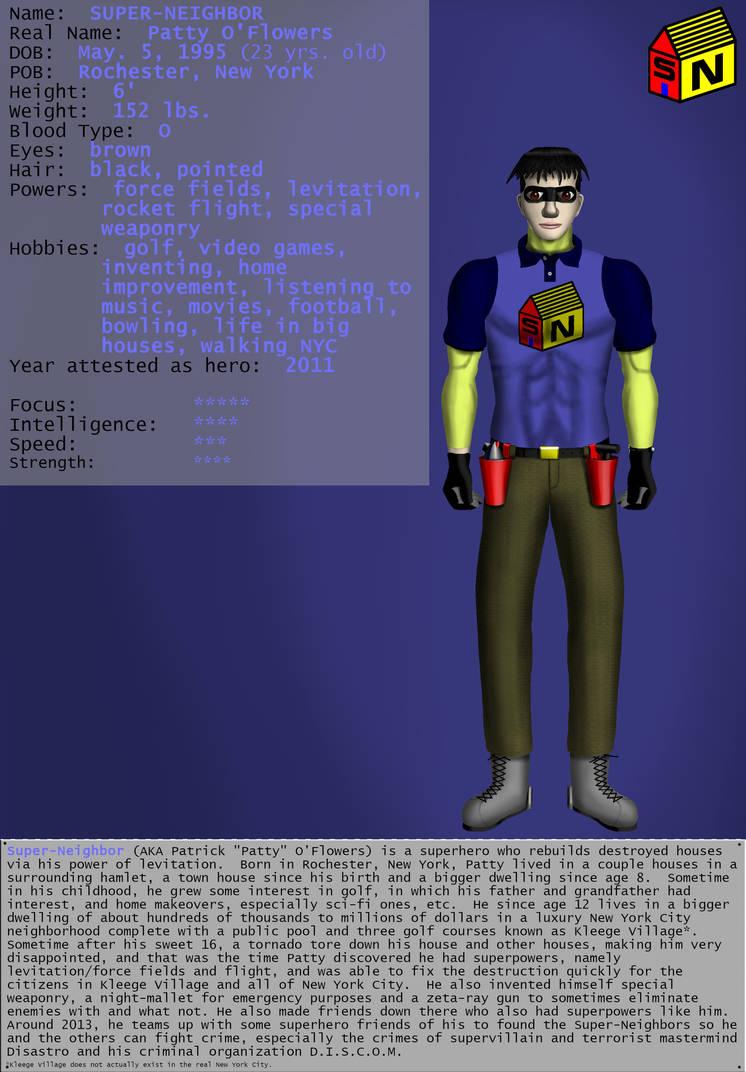 Super-Neighbors Character Bio:  Super-Neighbor by ArtsInSladeVision