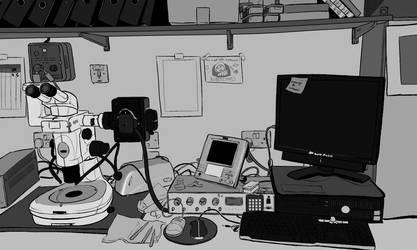 Messy lab by ellianounoursblanc