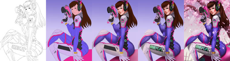 D.Va Painting Process by afurin