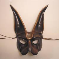 Brown Rabbit Leather Mask by teonova