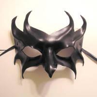 Impish Black Leather Mask by teonova
