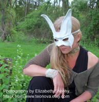 White Bunny Leather Mask by teonova