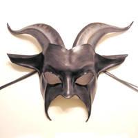 Leather Goat Mask grey black by teonova