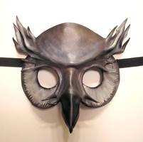 Ghostly Grey Owl Leather Mask by teonova