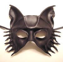 Black Wolf Fox Dog Leather Mask by teonova