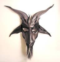 Baphomet Leather Mask Grey and Black by teonova