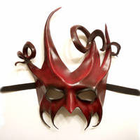 Leather Mask Devilish Jester in Red and Black by teonova
