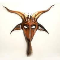 Baphomet Goat Leather Mask horsehair beard brown by teonova