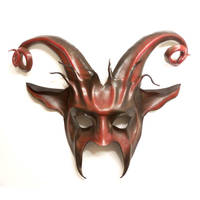 Leather Goat Mask Curled horns Baphomet Krampus by teonova