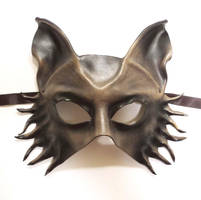 Leather Mask Wolf Fox Dog grey black half face by teonova
