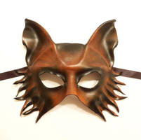 Wolf Fox Dog Leather Mask in brown with black by teonova
