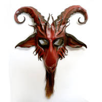 Goat Leather Mask red with black Baphomet Krampus by teonova
