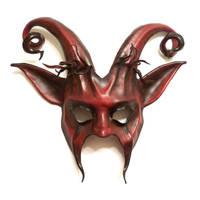 Leather Goat Mask Curled Horns Krampus Devil by teonova