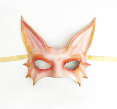 Pink Fantasy Cat Animal Creature Leather Mask by teonova