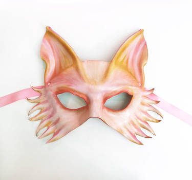 Pink Fantasy Wolf Fox Dog Leather Mask 1 by teonova