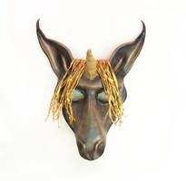 Unicorn Leather Mask By Teonova Grey And Gold by teonova