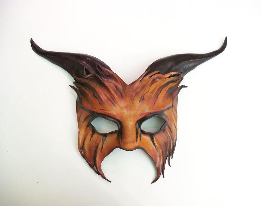 Goat Leather Mask red orange rust black Teonova by teonova