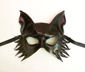 Black Leather mask Wolf Fox Dog by Teonova by teonova
